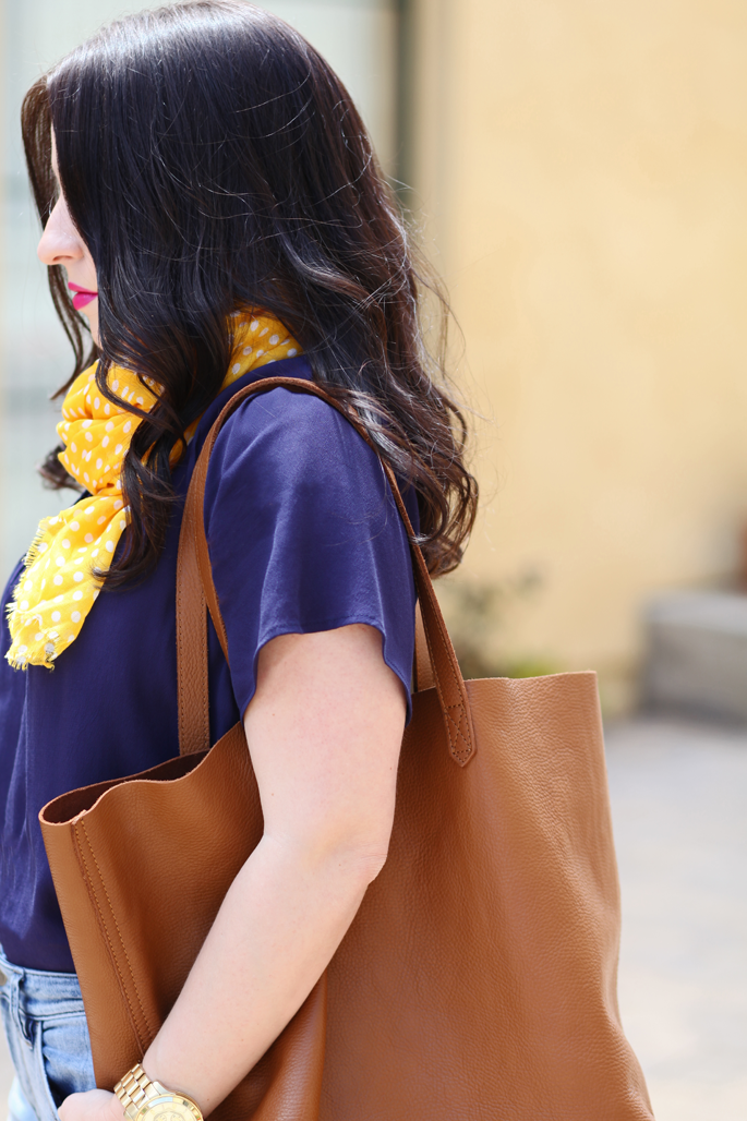 cuyana-tote-fraas-yellow-polka-dot-scarf-loft-denim-le-tote-top-mac-girl-about-town-lipstick-michael-kors-watch-king-and-kind