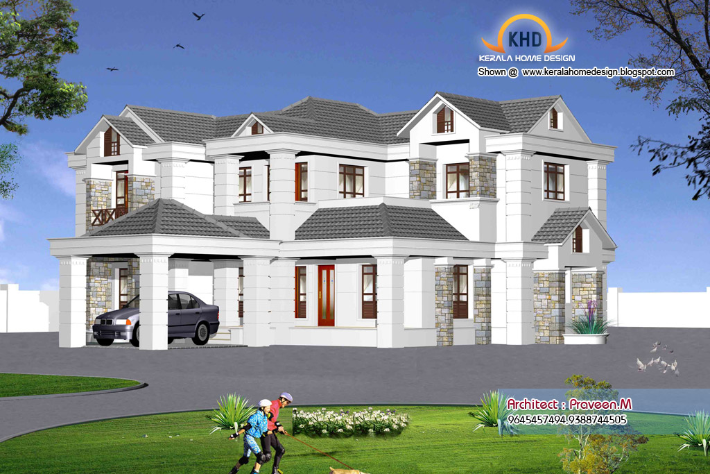 Indian style sweet home 3d designs kerala house design idea for Home designs 3d images