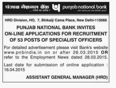 Jobs in PNB 2015