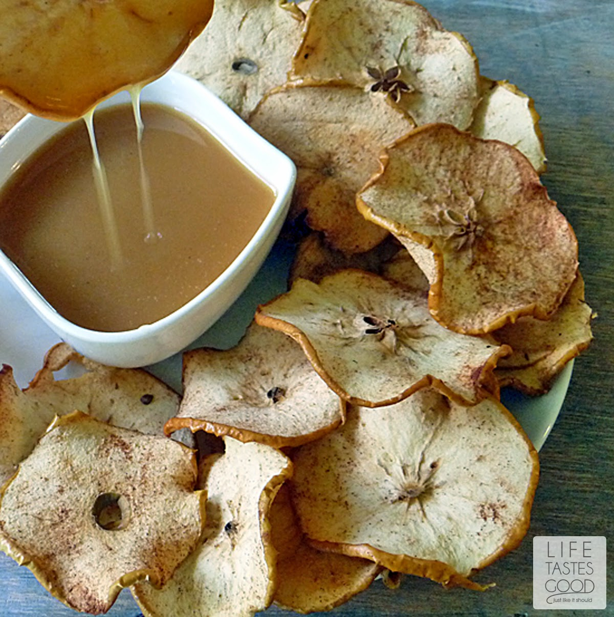 Apple Chips with Salted Caramel | by Life Tastes Good