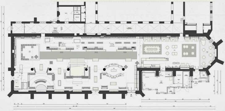 Floor plan of modern bookstore in old cathedral, the Netherlands
