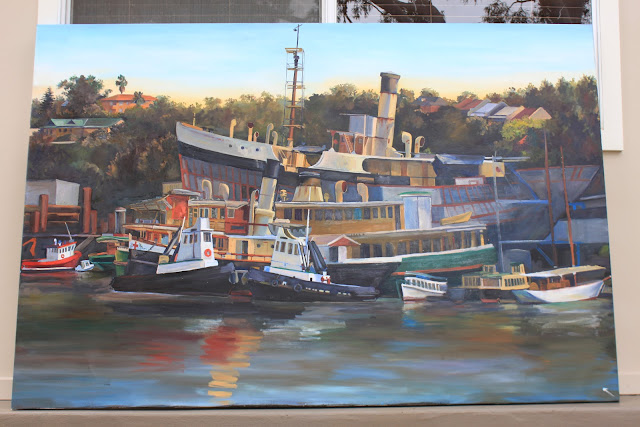 oil painting the Sydney Heritage Fleet from Blackwattle Bay en plein air by artist Jane Bennett