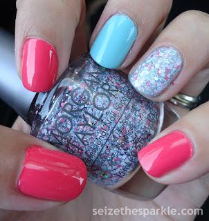 Mint, Coral, Glitter Manicure