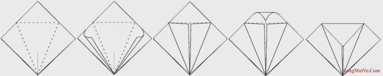 Bước 5: Thực hiện các bước gấp như hình bên dưới ta sẽ được như hình 5. Sau đó ta lại mở ra, mục đích để tạo thành các nếp gấp.