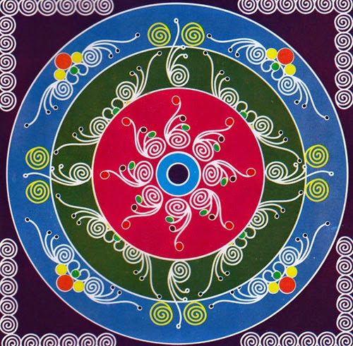 Rangoli Designs and Patterns with Lamps for Diwali 10