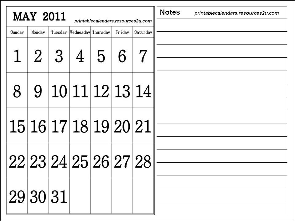 may calendars 2011. Downloadable Calendar May 2011