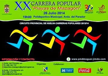 "XX CARRERA POPULAR ""PLAYAS DE MAZAGÓN"" 2014"