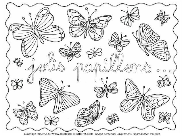Cocolico creations mercredi coloriage 10 jolis - Dessin de petit papillon ...