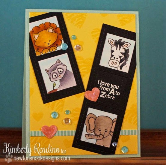 Zoo Animal Valentine Card by Kimberly Rendino | Newton's Nook Designs | Wild about Zoo Stamp Set