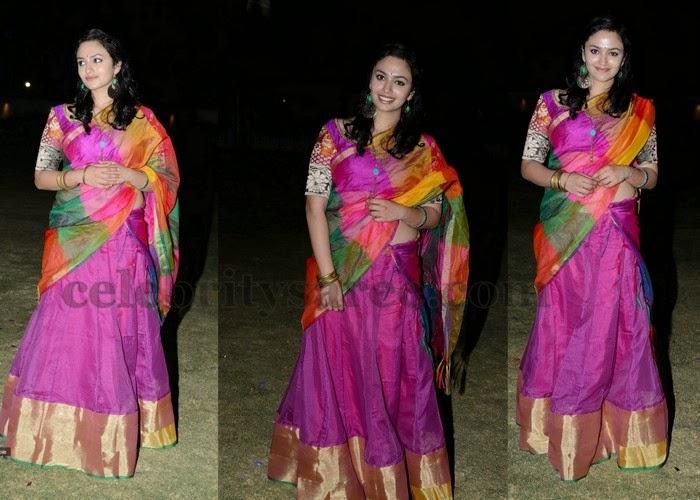 Malavika Nair Pink Half Saree