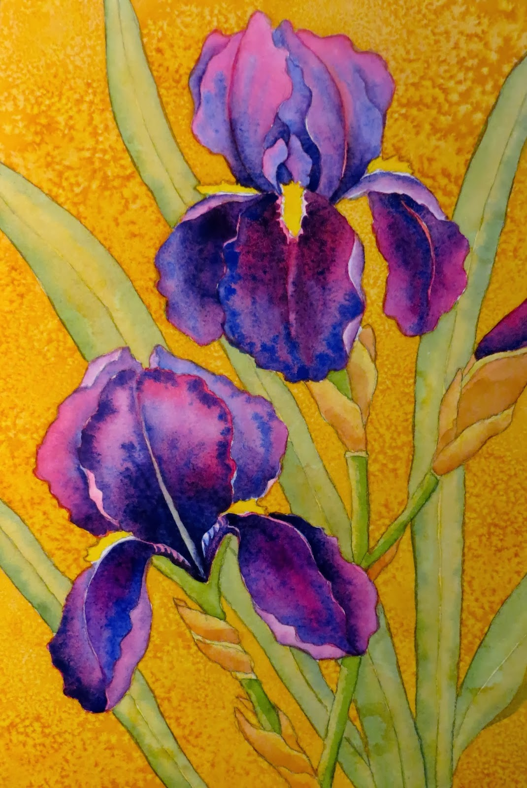 The painted prism watercolor workshop painting bearded irises 12 add more green to the leaves and stems mix up two more greens sap green and sap green cobalt blue izmirmasajfo