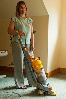 Mrs P doing the hoovering!
