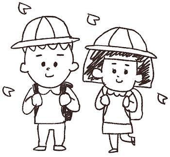 新入生のイラスト(小学生)線画