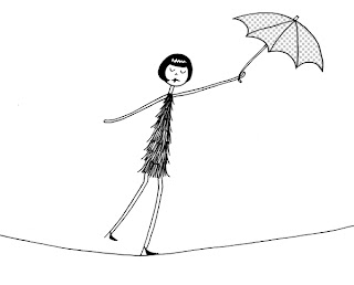 Ilustração de uma trapezista a andar na corda bamba