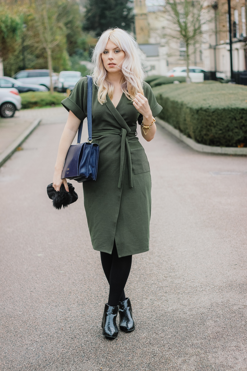 Khaki Green Wrap Dress The Goodowl