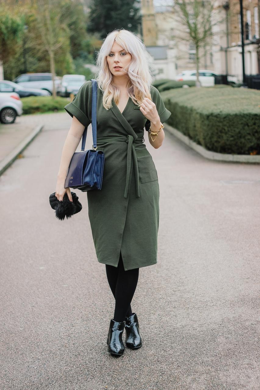 Khaki Green Wrap Dress The Goodowl