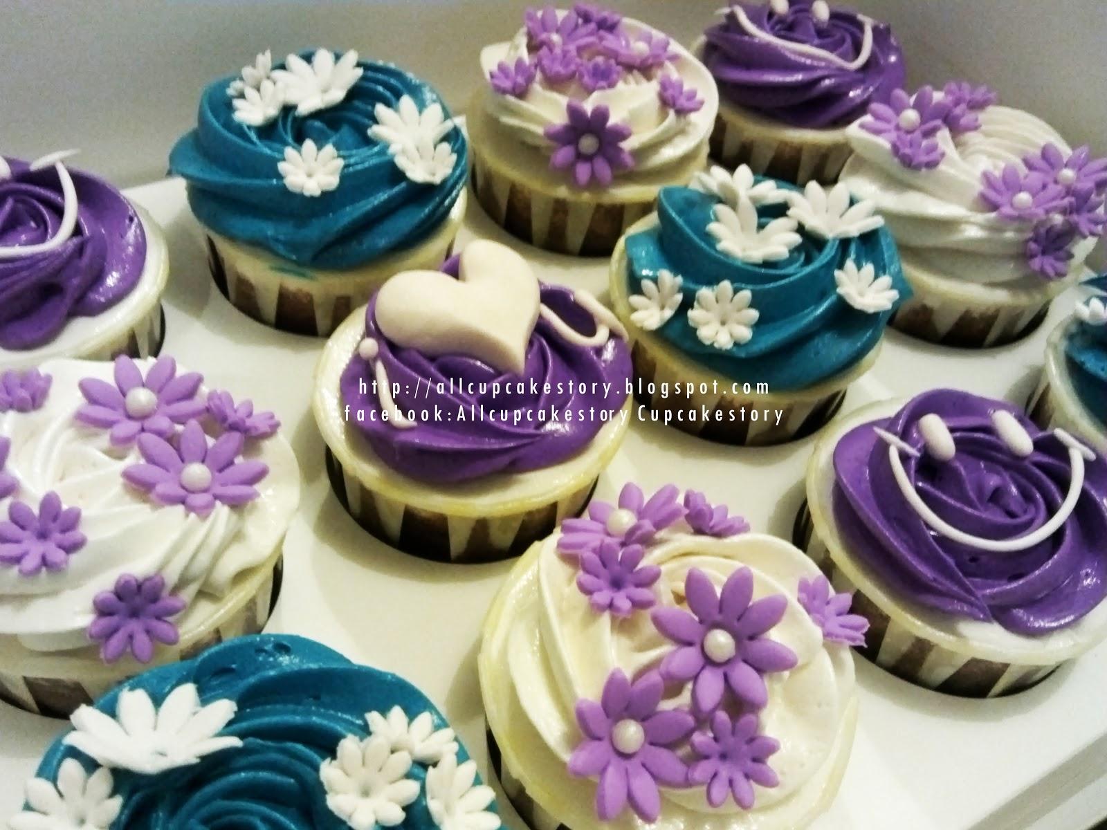 allcupcakestory Purple Blue & White Sweet Cupcakes