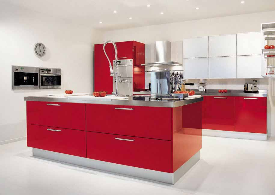 Memasak jadi menyenangkan dengan desain dapur warna merah for Kitchen set hitam
