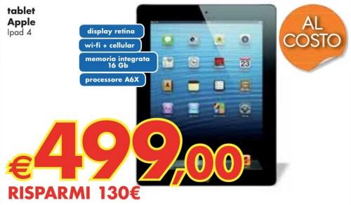 Nell'ultimo volantino panorama di fine maggio inizio giugno troviamo il tablet apple in promozione con un ottimo sconto reale di 100 euro