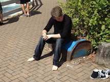 Candid Guys Feet Guy Drying Converse Tidal Wave