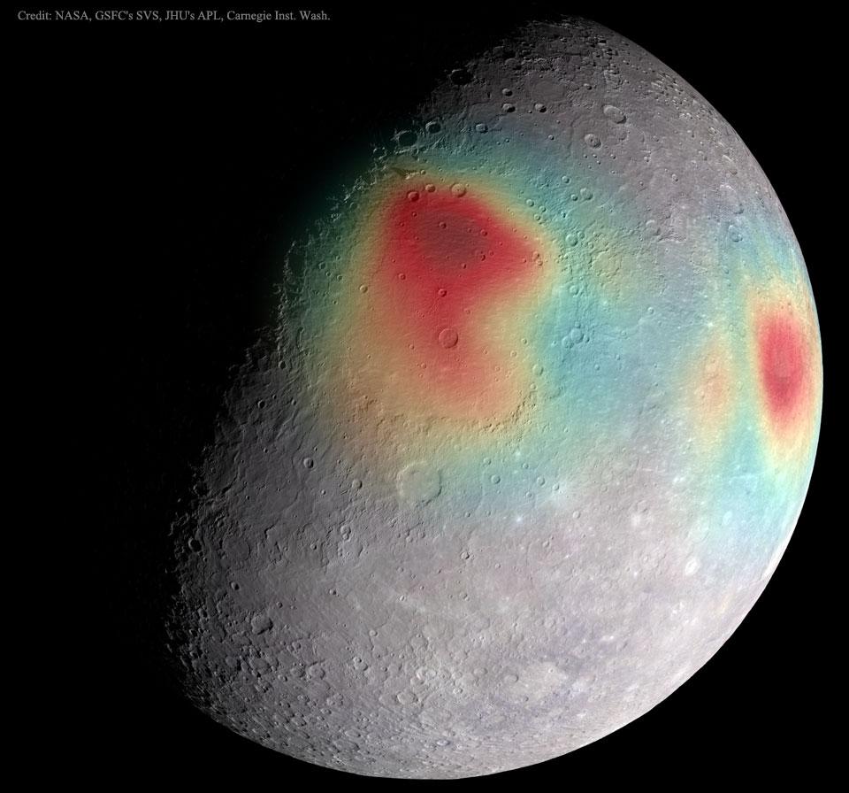 Trọng lực không bình thường của Thủy Tinh. Bản quyền hình : NASA, GSFC's SVS, JHU's APL, Carnegie Inst. Washington.