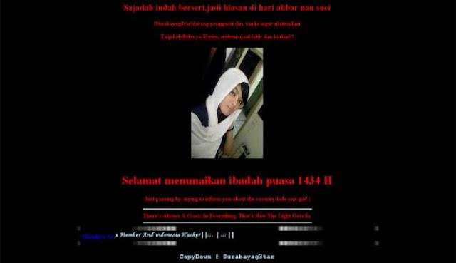 Website saat di hack oleh team !Surabayag3tar!