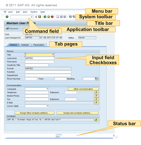 what is application toolbar in sap