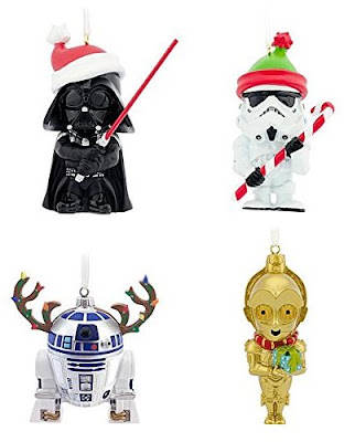 heres a cute set of christmas tree ornaments form hallmark i love how this set includes four of our favorite star wars character including c3po - Star Wars Christmas Decorations