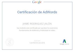 Jaime Rodriguez Jalón certificado de Google Vídeo