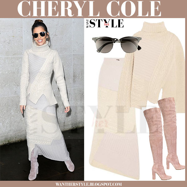 Cheryl Cole in cream knit joseph sweater, cram knit joseph maxi skirt and suede boots what she wore winter fashion
