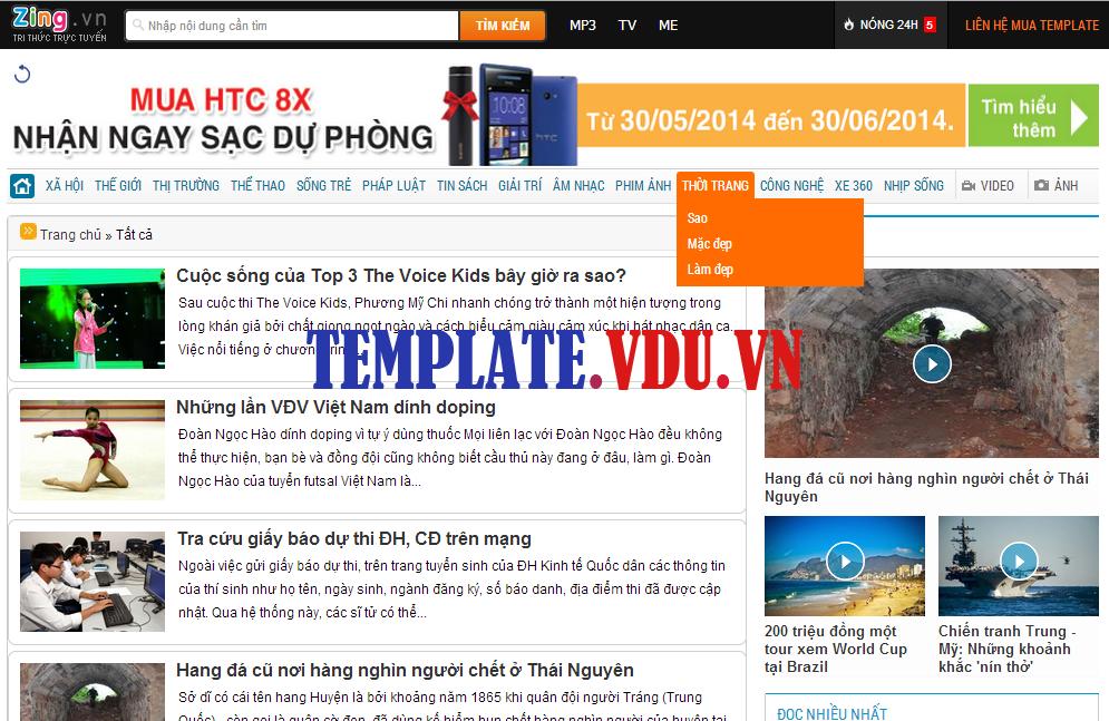 Template Blogspot Tin Tức Giống Zing.vn, Themes Blogger For News Đẹp