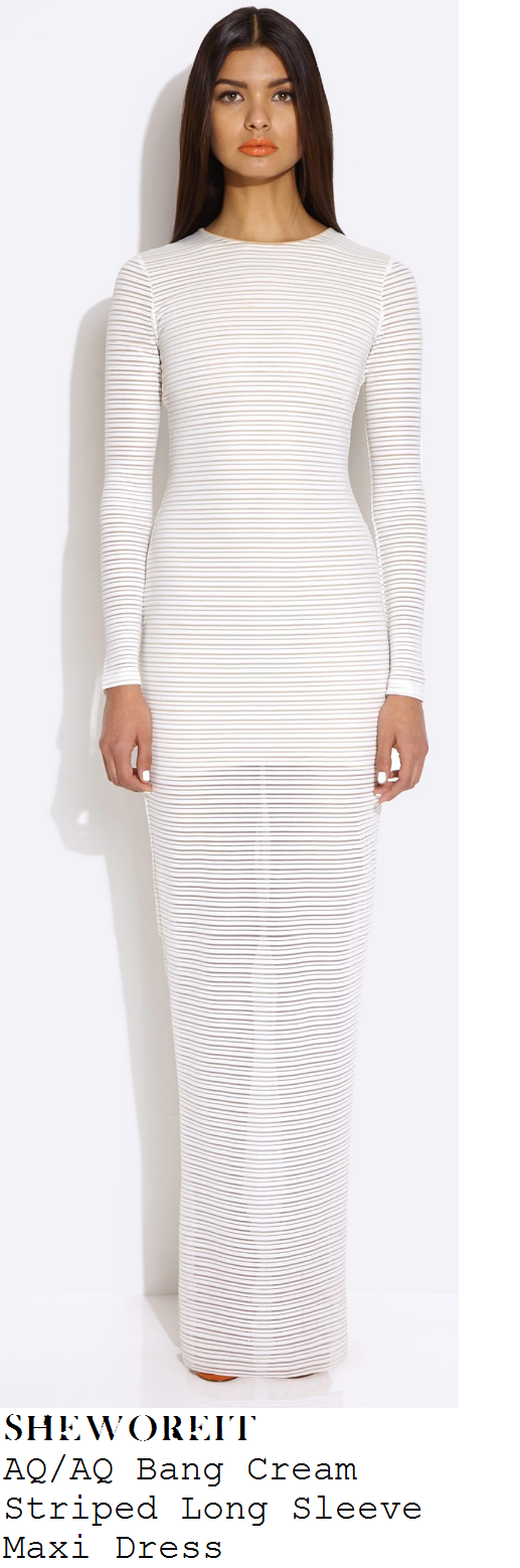 lucy-mecklenburgh-cream-sheer-stripe-long-sleeve-maxi-dress-bbc-studio