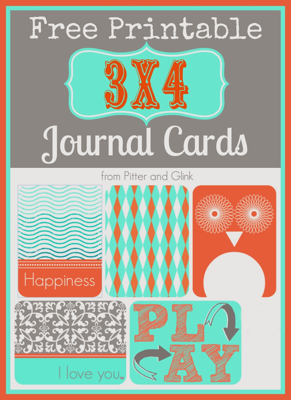 graphic relating to Free Printable Journal Cards known as PitterAndGlink: Cost-free Printable 3x4 Magazine Playing cards