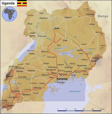 Mapa rodoviário de Uganda