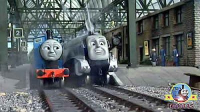 Thomas and his friends Edward the great Spencer the tank engine giant Knapford station platform one