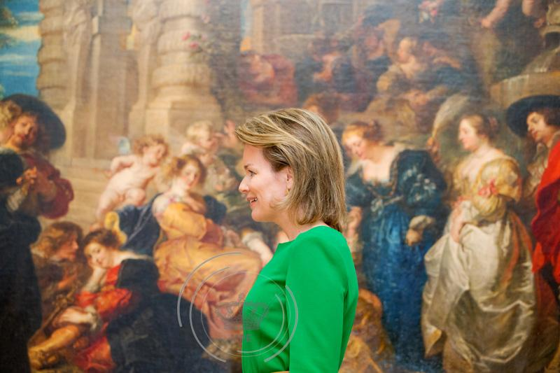 Queen Mathilde of Belgium visits the exhibition Sentation and Sensuality, Rubens and his Heritage of Belgian painter Peter Paul Rubens