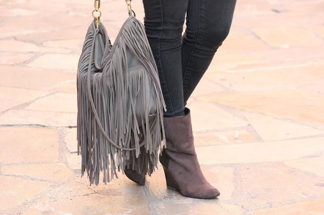 botines grises bolso flecos mallorca