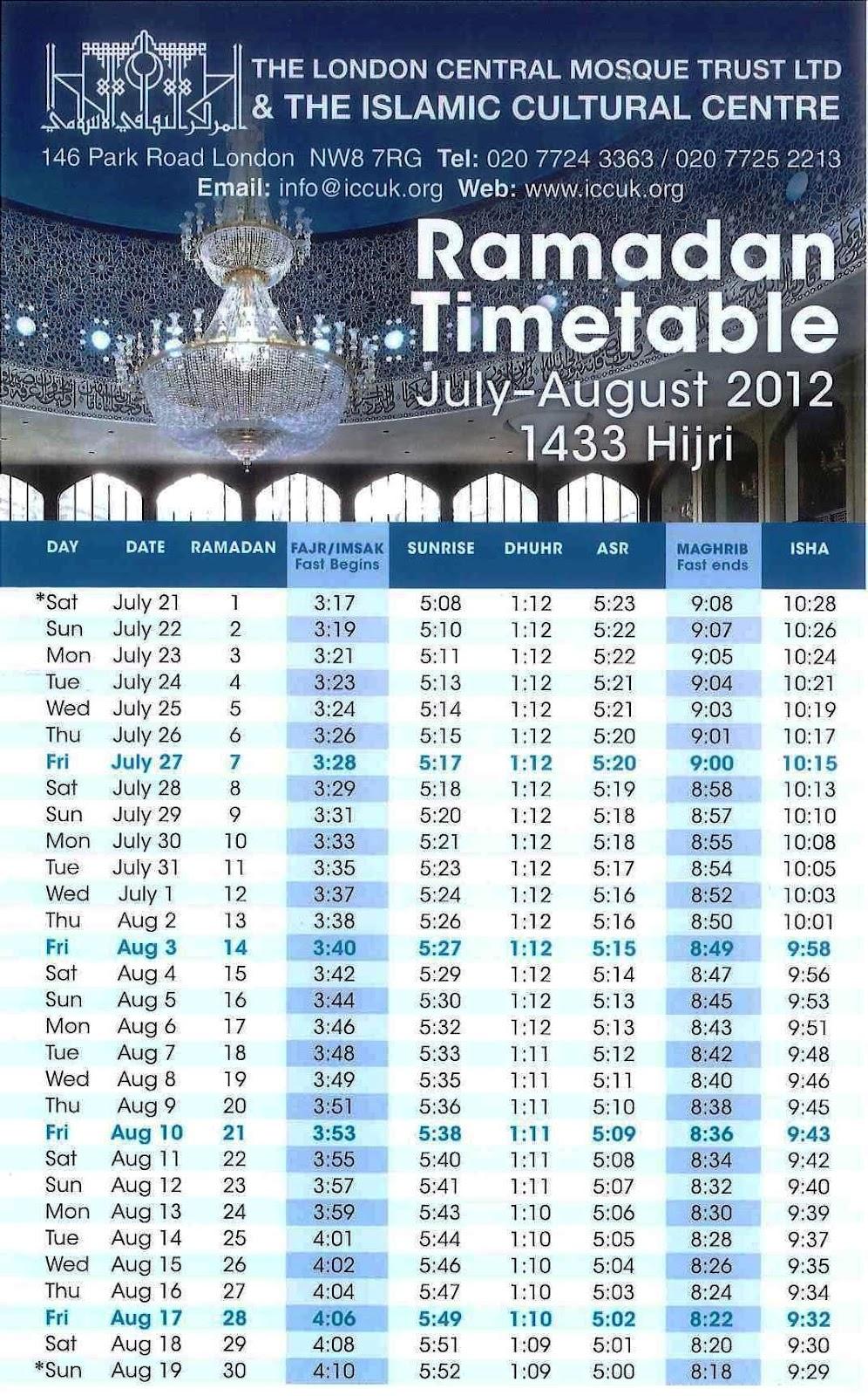 Calendar Ramzan : Ramadan calendar and timetable for london uk