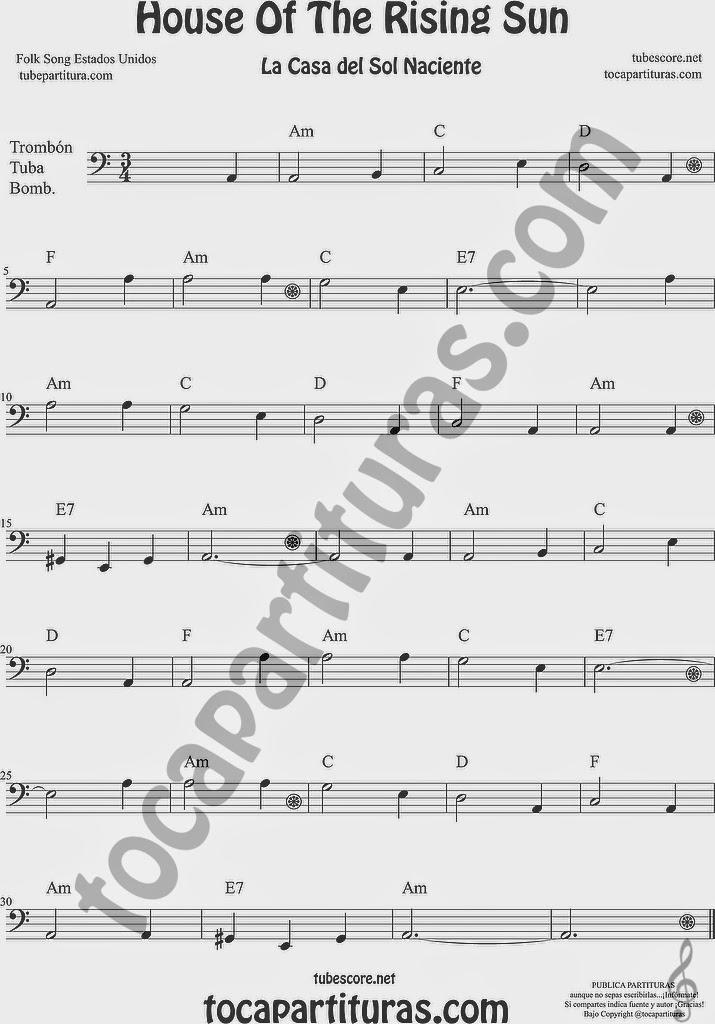 La Casa del Sol Naciente Partitura de Trombón, Tuba Elicón y Bombardino Sheet Music for Trombone, Tube, Euphonium Music Scores