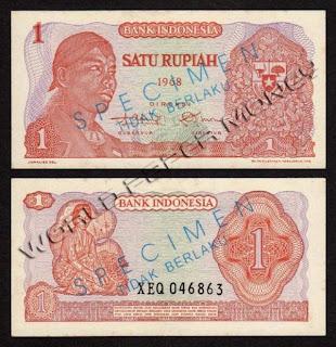 Contoh gambar mata uang Republik Indonesia 1 ( satu ) Rupiah .