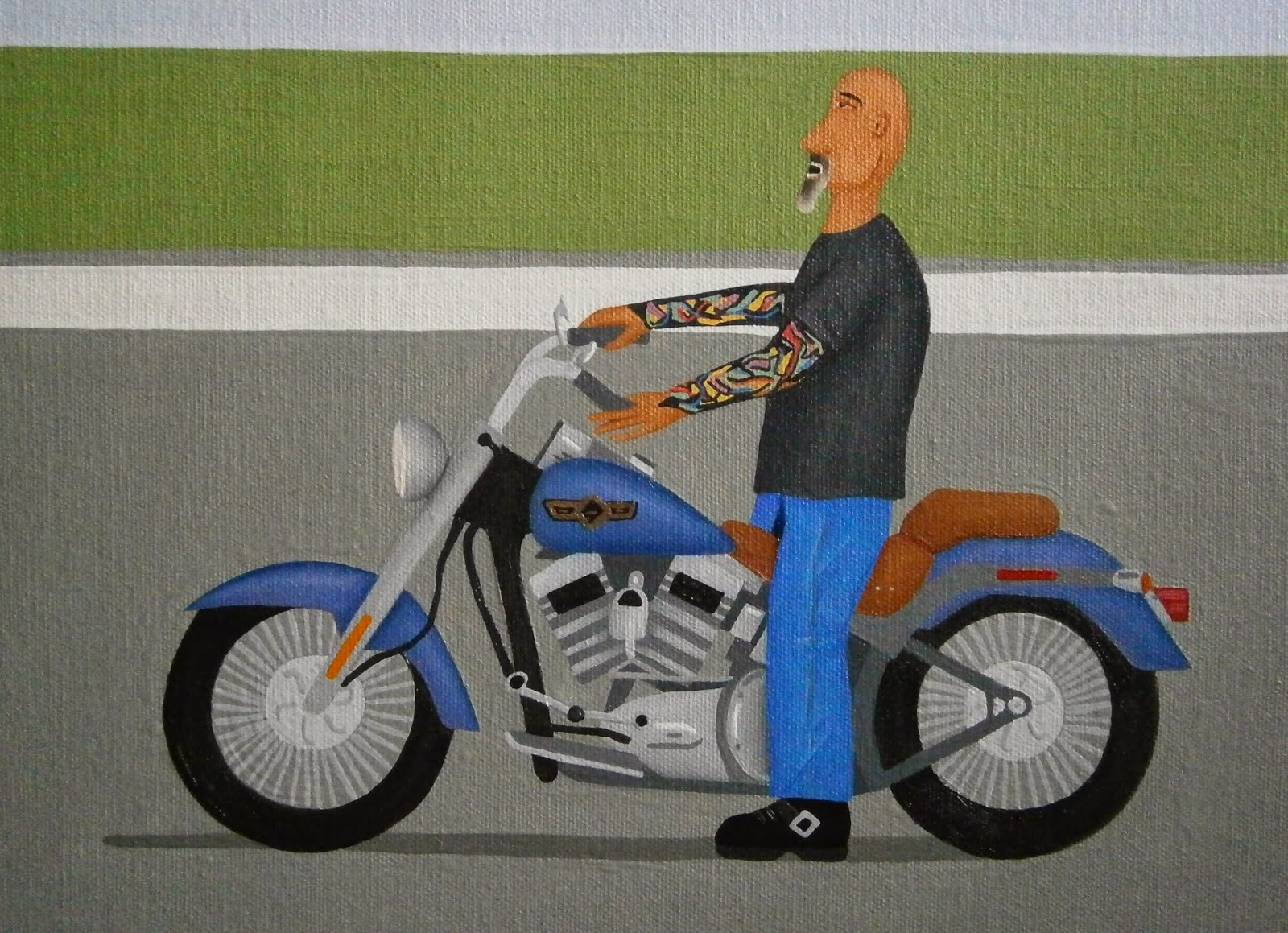 Shrunken bald biker man from painting Oh Hello Bad Boy