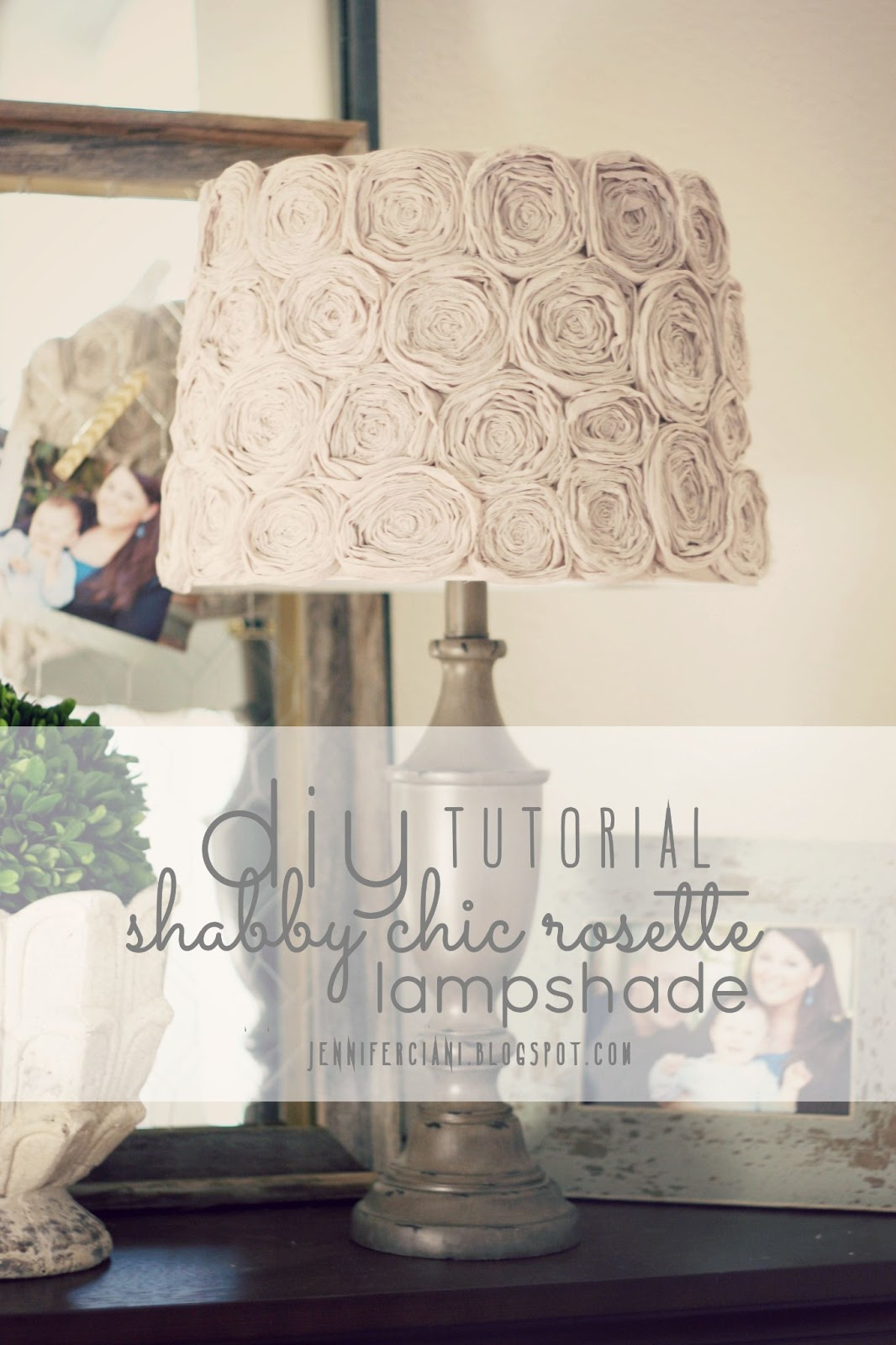Diy shabby chic rosette lamp shade simply ciani aloadofball Image collections