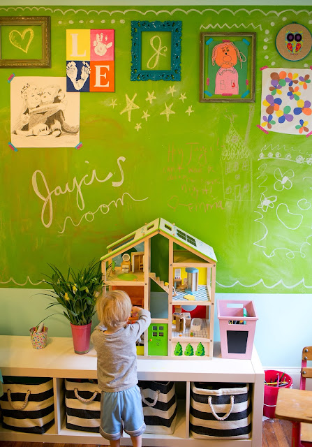Bright and fun, colorful little girl's room on a budget. Art-display chalkboard wall with vintage frames and washi tape.