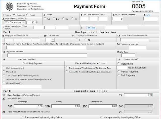 Annual Registration Form (BIR FORM 0605)