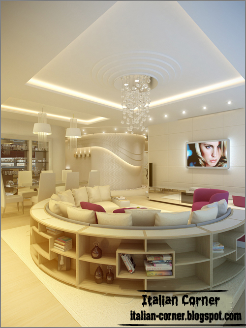 Italian Living Room Interior Design With Unique Round Sofa And Bookcase  With Modern Ceiling Part 97