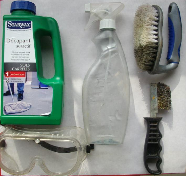 Le matériel nécessaire moins les gants conservés par le Photographe