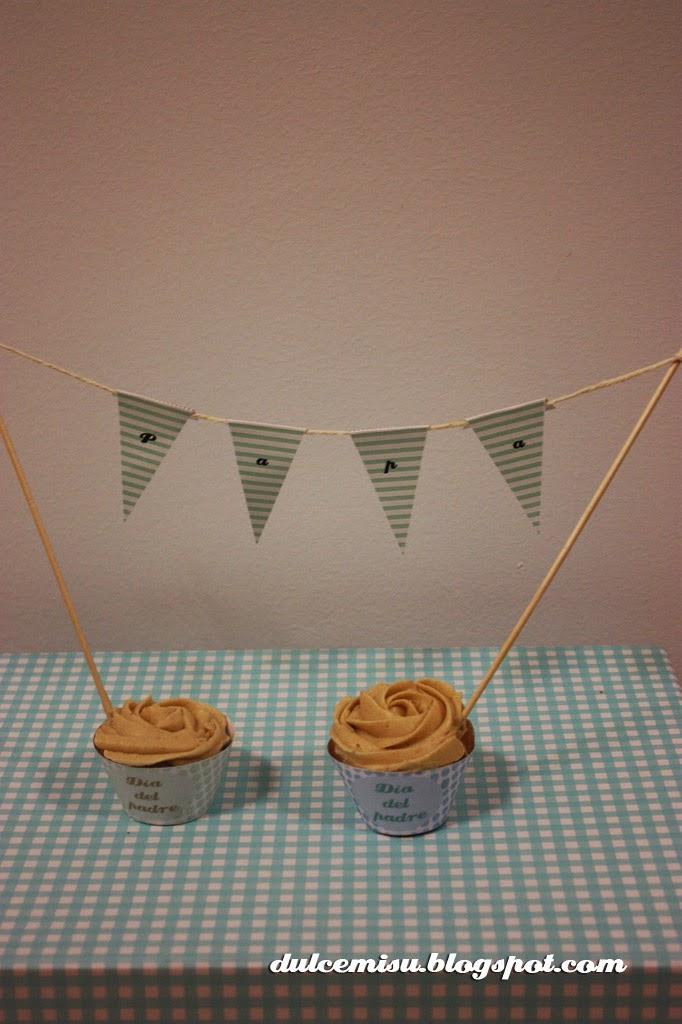cupcake, dia del padre, fondant, dulcemisu, wrapper, banderines