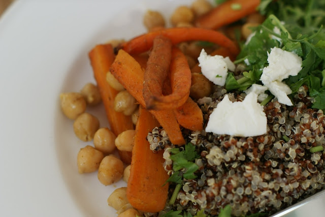 roasted carrot and chickpea healthy salad