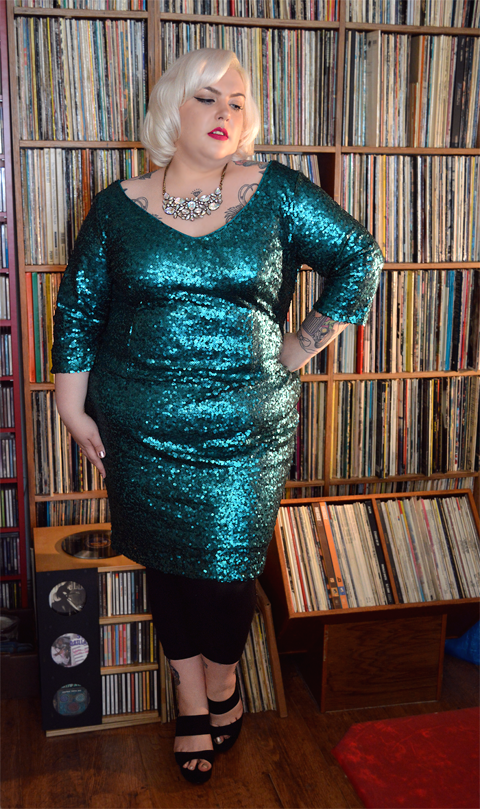 A picture of Nancy Whittington in the Claire Richards Emerald Green Sequin Dress