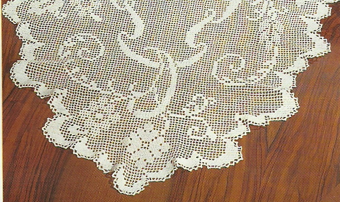 схемы вязания овальной скатерти крючком.